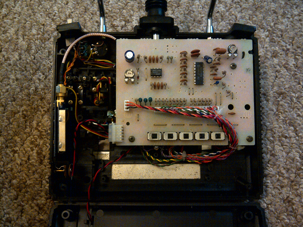 the insides of joey's modified futaba challenger transmitter - wires,  circuits, and incompetence galore